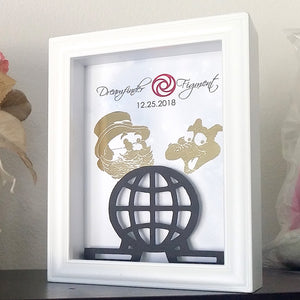 Dreamfinder And Figment Epcot 3D Shadowbox - Epcot Ball 5X7
