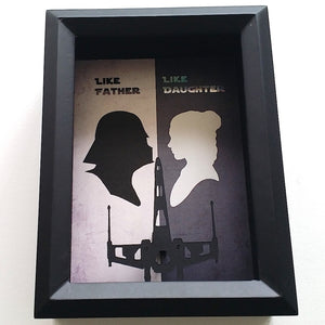 "Star Wars ""Like Father, Like Daughter"" Tie Fighter / X Wing 3D Shadowbox"