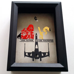 Star Wars Darth Vader Princess Leia Tie Fighter / X Wing 3D Shadowbox