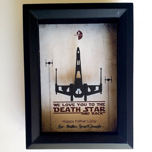 "Star Wars ""We Love You To The Death Star And Back"" X Wing / Millennium Falcon 3D Shadowbox"