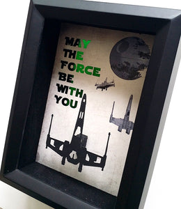 "Star Wars ""May The Force Be With You"" X Wing Cutout 3D Shadowbox"