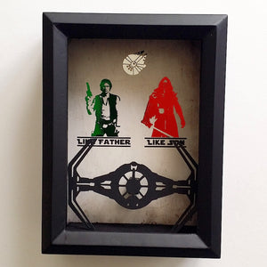 "Star Wars ""Like Father, Like Son"" Kylo Ren Han Solo Tie Fighter Or Millennium Falcon 3D Shadowbox"
