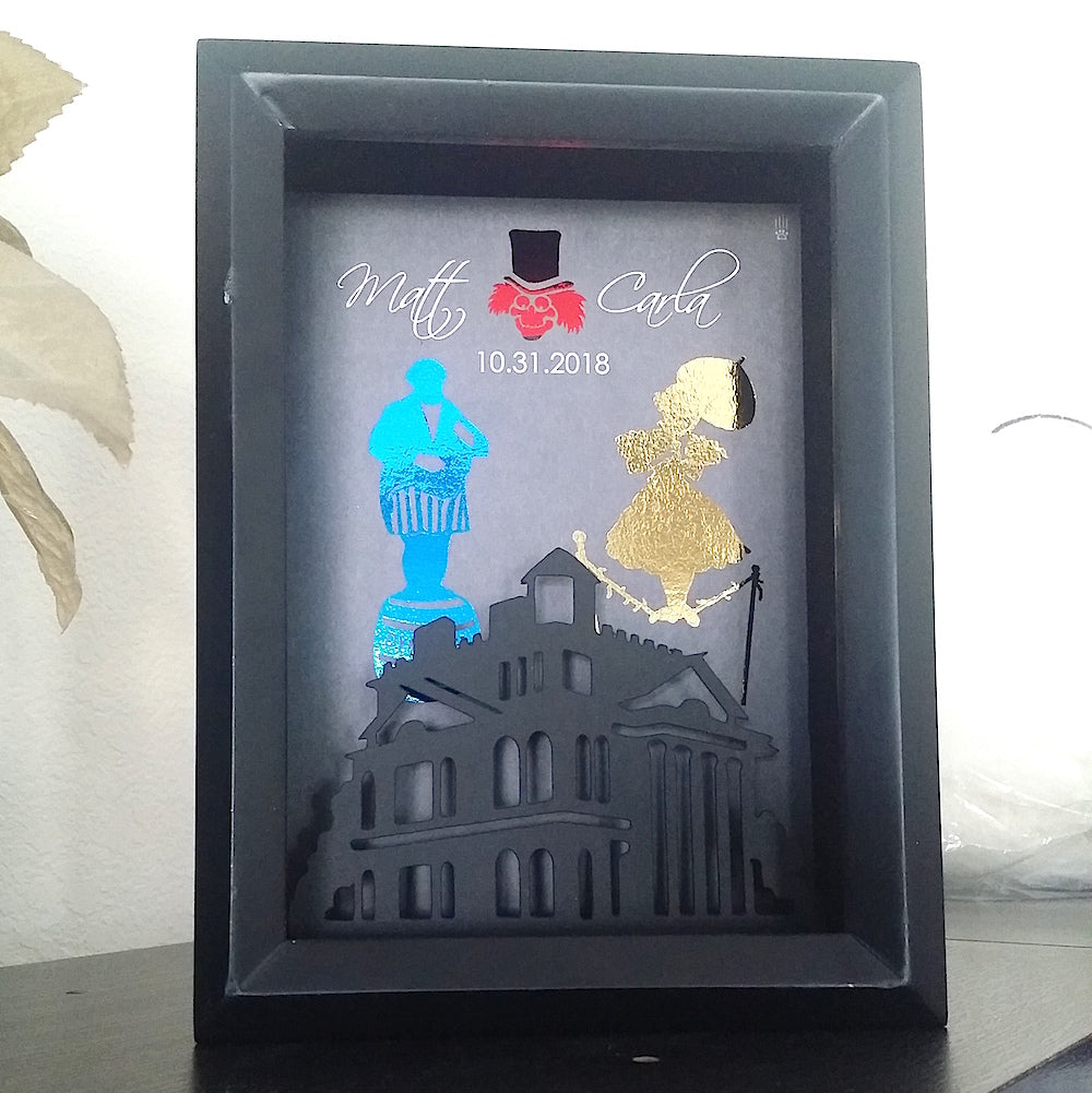 Disneys Haunted Mansion Couples 3D Shadowbox - Haunted Mansion Cutout 5X7