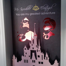 Mr. Incredible And Elastigirl 3D Shadowbox - Disney Castle 5X7