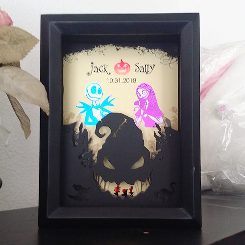 Jack And Sally Nightmare Before Christmas 3D Shadowbox - Oogie Boogie Cutout 5X7