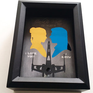 "Han Solo Princess Leia ""I Love You, I Know"" Millennium Falcon 3D PaperCraft Shadowbox"