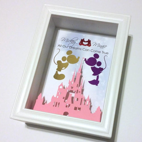 Mickey And Minnie Mouse 3D Shadowbox - Disney Castle 5X7
