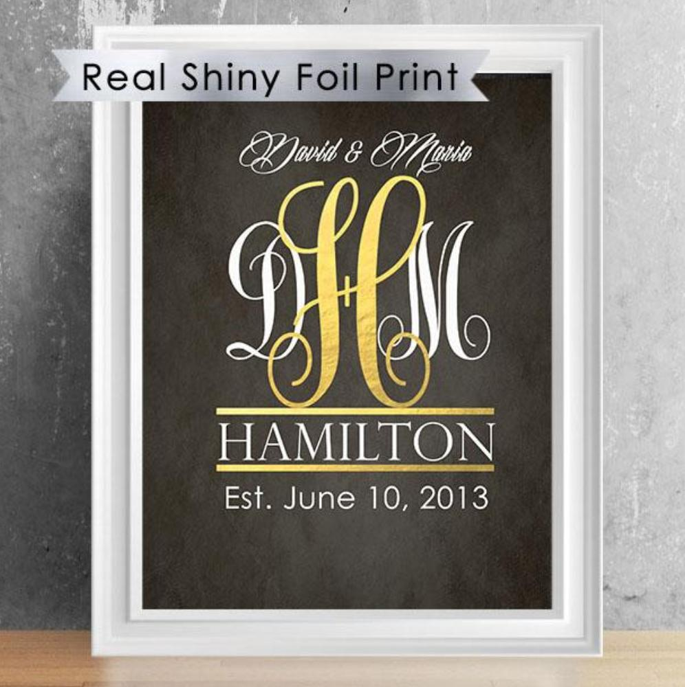 Family or Couple Shiny Foil Monogram Print - 8X10