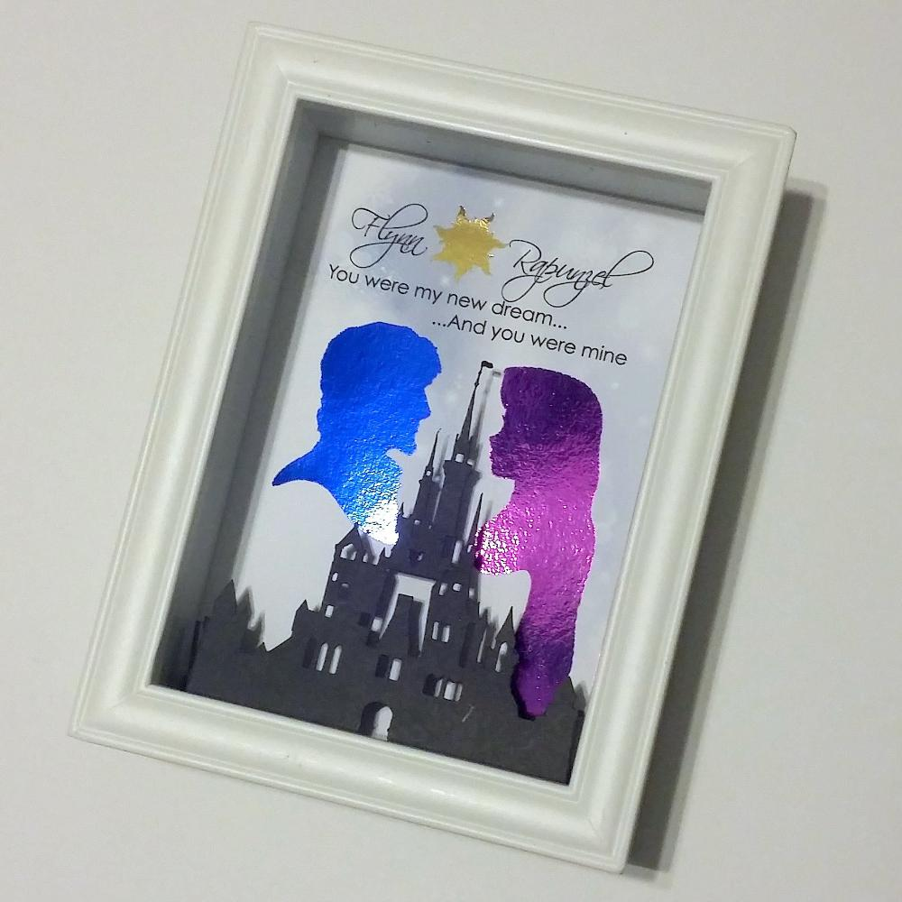 Tangled Rapunzel And Flynn 3D Shadowbox - Disney Castle 5X7