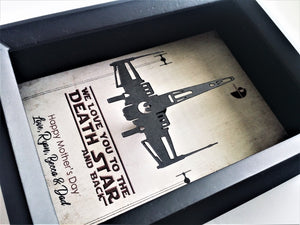 Personalized Star Wars Mother's Day 3D Shadowbox - 5X7 Millennium Falcon Or X Wing Cutout