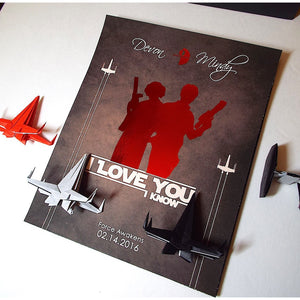 "Star Wars Leia & Solo ""I Love You, I Know"" 8X10 Origami 3D Shadowbox"