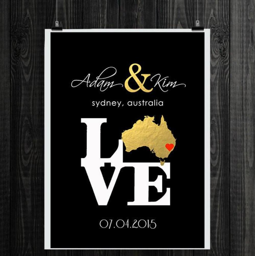 Gold Foil Print Unique Wedding Gifts For Couple Personalized