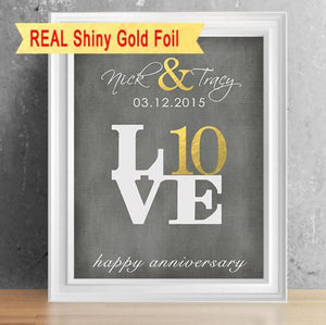 Real Shiny Foil 10 Year Anniversary Print - 8X10 Love Sign