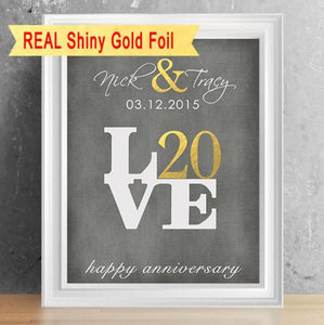gold foil 20th anniversary gift wedding anniversary gift for