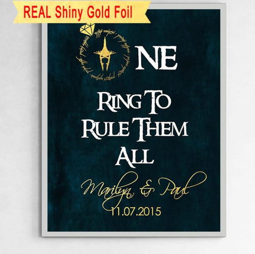 Personalized Lord Of The Rings Wedding Foil Print For Couples - 8X10