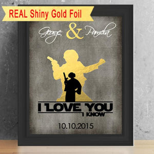 "Star Wars ""I Love You I Know"" Art Print - Silhouette Made With Real Shiny Gold Foil"