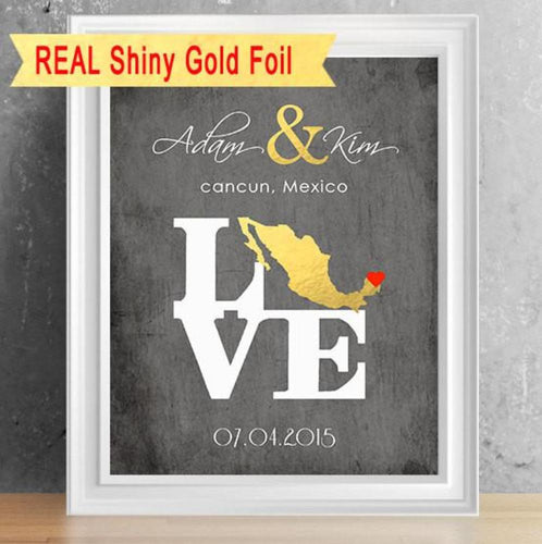 Shiny Foil Country of Love Couples' Print - 8X10