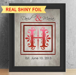 Shiny Foil Family Monogram, Family Wall Art, Family Name Sign - 8X10