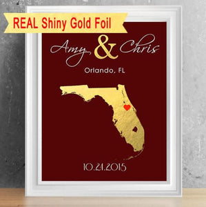Shiny Gold Foil State Silhouette Couple's Print - 8X10
