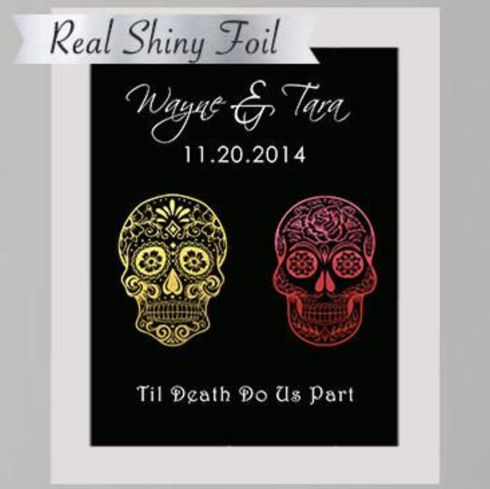 Shiny Gold Foil Sugar Skull Couple's Print - 8X10
