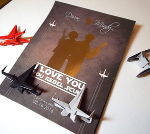 "Star Wars Couples 3D Shadowbox Gift - ""I Love You Rebel Scum"""