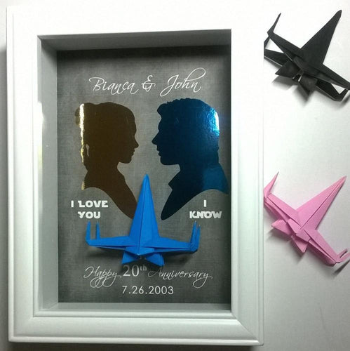 Star Wars Anniversary Gift - I Love You, I Know Quote X Wing 3D Shadowbox - 5X7