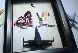 Fathers Day from Daughter, Fathers Day From Daughter, Father Daughter Gift, Like Father Like Daughter, 5X7 Frame With X Wing Figure.