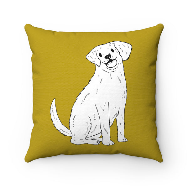A Unique Spun Polyester Square Pillow With This Design of A Golden Retriever