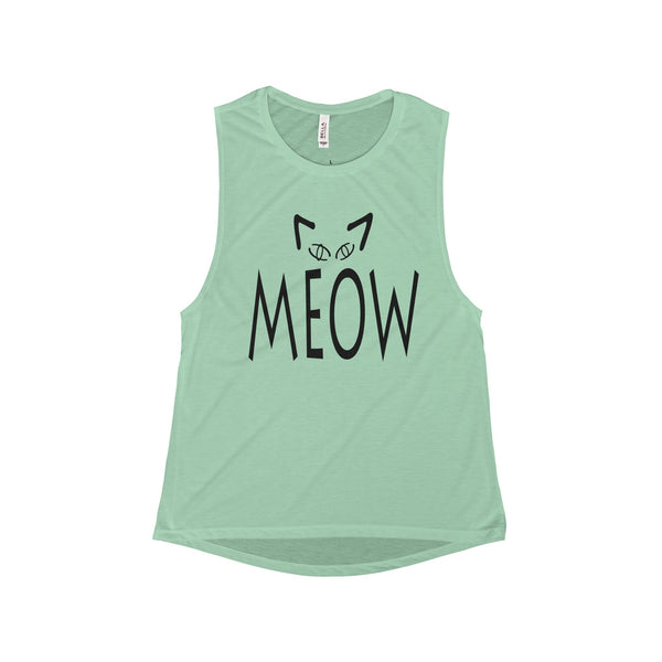 Women Flowy Scoop Muscle Tank with Meow Cat Design