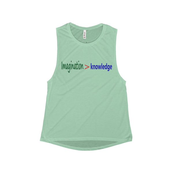 Women Flowy Scoop Muscle Tank with Imagination > Knowledge Design