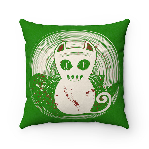 A Unique Faux Suede Square Pillow With This Design of A Zombie Cat