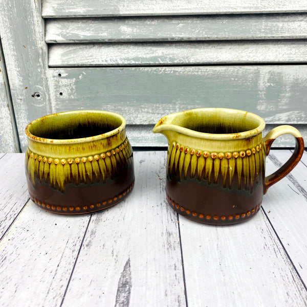 Brown Green Ceramic Milk Jug & Sugar Bowl Set Pottery Made in NZ