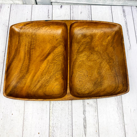 Vintage Large Wooden Divided Compartment Tray Monkey pod 70s MCM