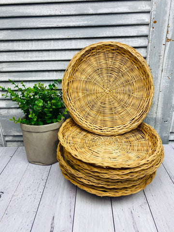 Set of 10 Vintage Cane Wicker Paper Plates Holders Tiki Rattan Boho Rustic