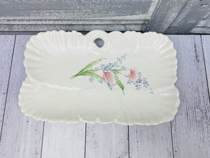 Vintage Japanese China Ceramic Floral Tulip Serving Tray Hand painted Pottery