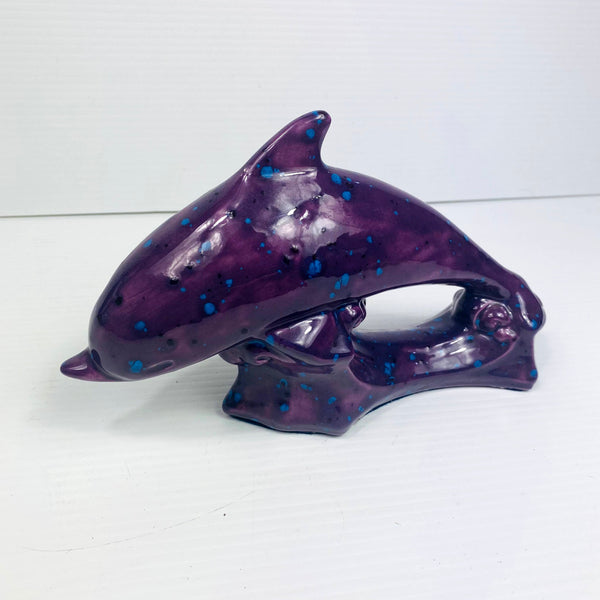 Purple Ceramic Dolphin Sculpture