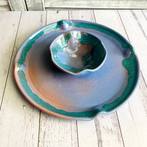 Ceramic One Piece Chip Dip With Attached Bowl platter