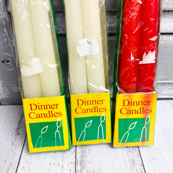 Vintage Taper Dinner Candles White and Red - Brand New