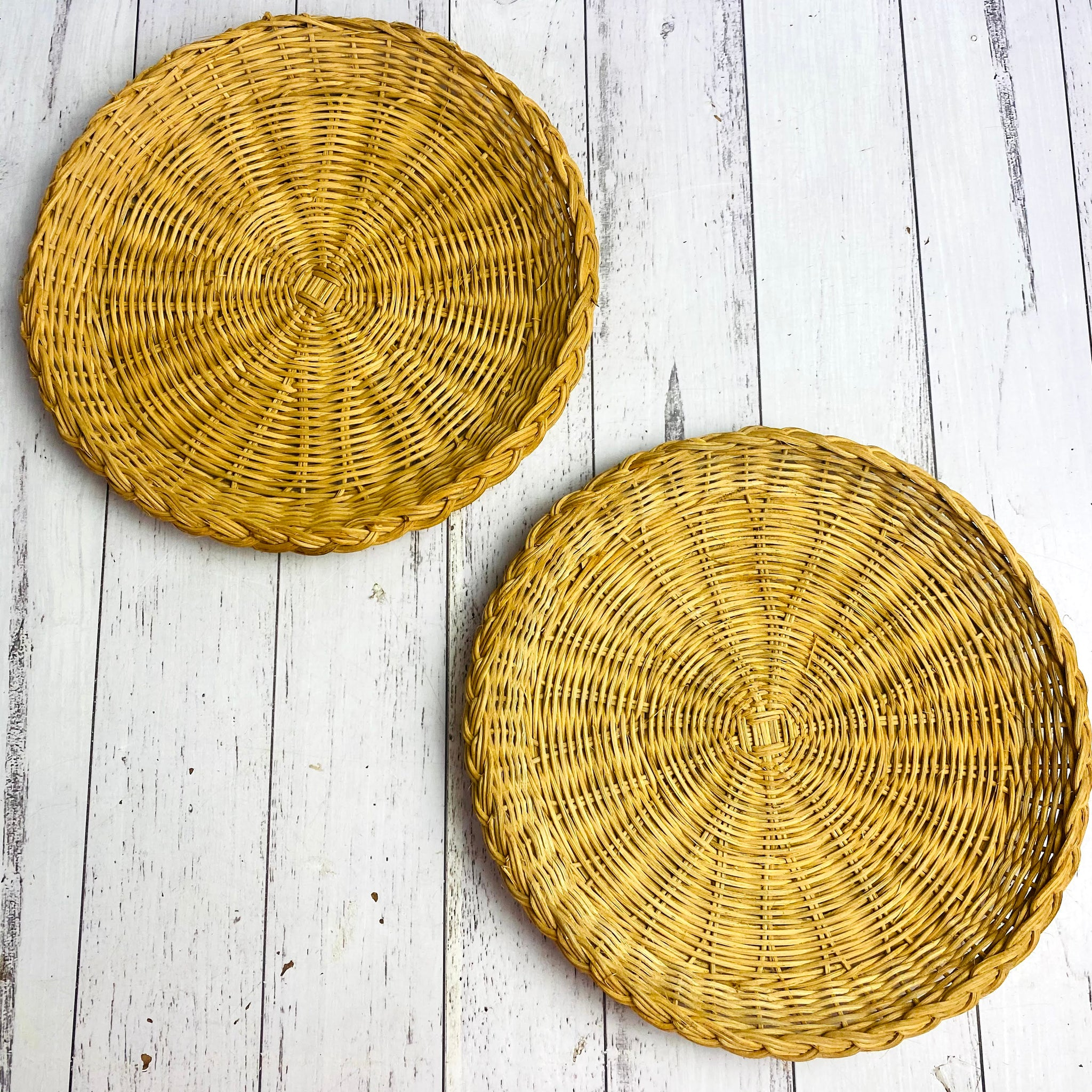 Set of 2 Cane Wicker Round Plates Wall Hanging Basket Set