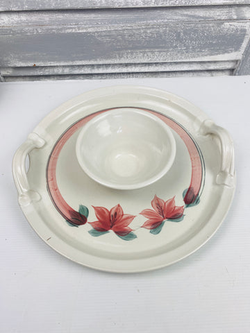 Vintage Ceramic Serving Platter Entertaining Chip Dip Australia Pottery Handcrafted