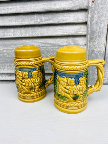 Vintage ceramic Japanese Salt & Pepper shakers german beer steins dutch