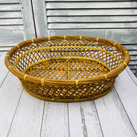 Vintage Oval Wicker Cane Basket Fruit Bowl