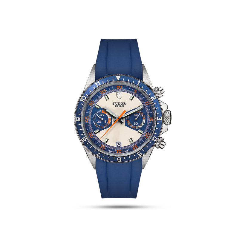 Integrated  Rubber Strap For Heritage Chrono - Blue