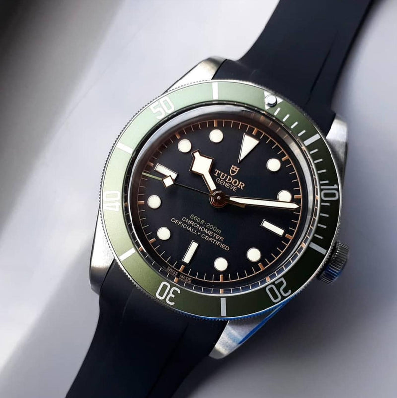 Integrated Rubber Strap For Tudor Heritage Black Bay - Black