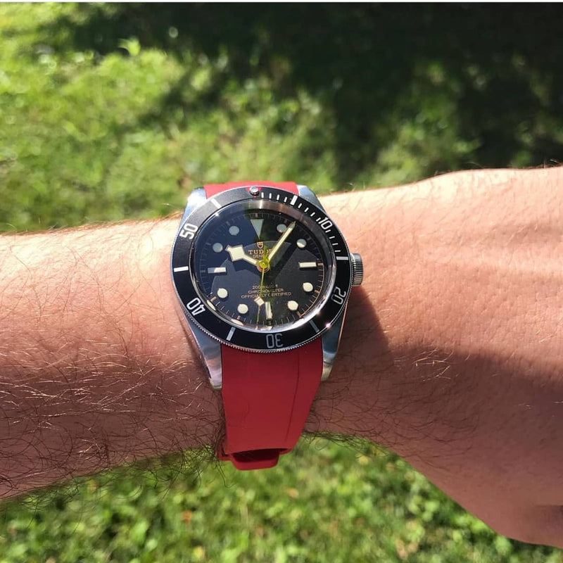 Integrated Rubber Strap For Tudor Heritage Black Bay - Red