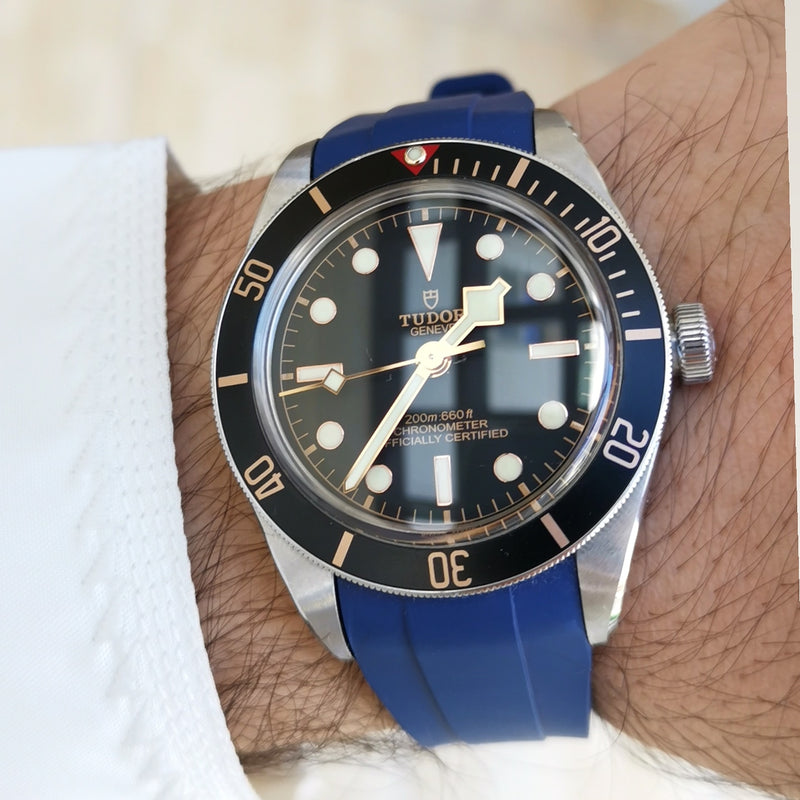 Integrated Rubber Strap For Tudor Black Bay Fifty Eight- Blue