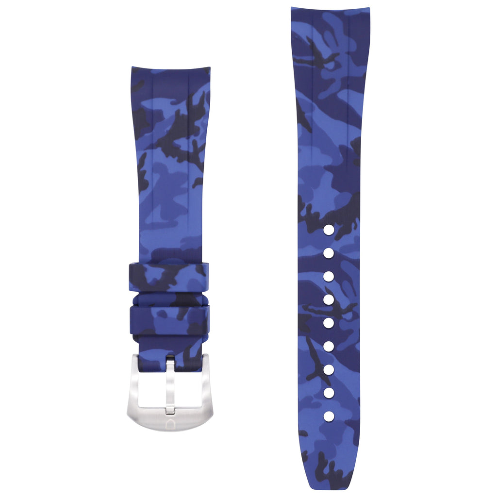 Integrated Rubber Strap For Explorer II - Blue Camo