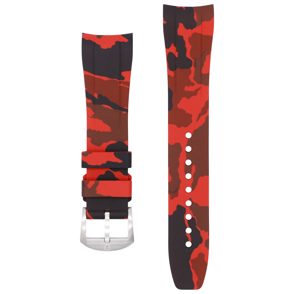 Integrated Rubber Strap For Explorer II - Red Camo
