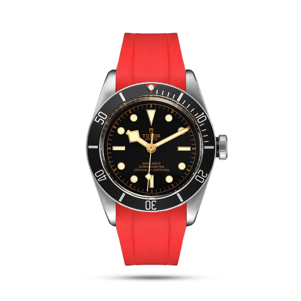 Tudor black bay red rubber strap