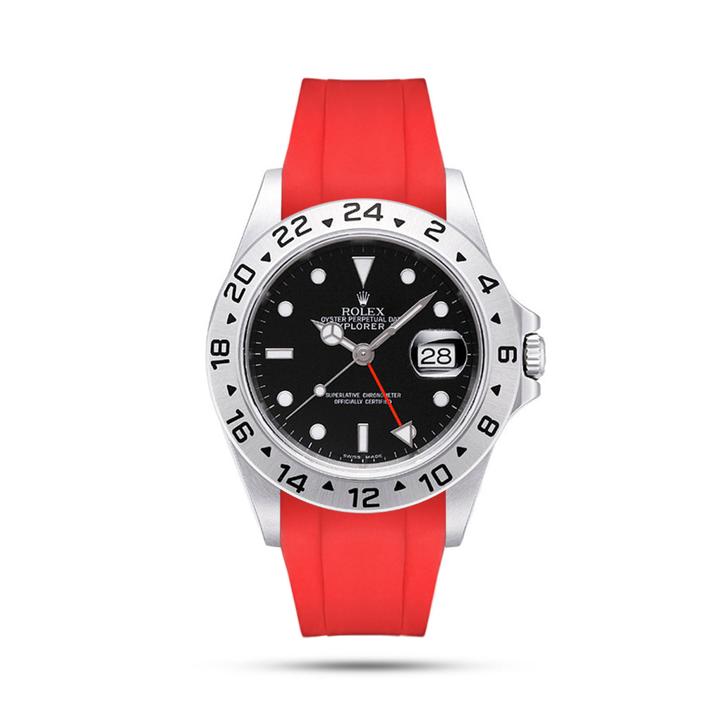 Integrated Rubber Strap For Explorer II - Red